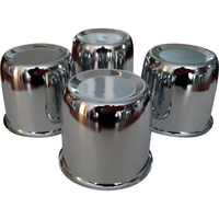 4 x Chrome Centre Caps Domes To Suit 75mm Centre Bore Car Trailer Boat