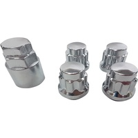 "1/2"" Chrome Wheel Locknut Set (4 + 1) Mag / Steel Ford Jeep"