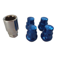 "1/2"" Blue Wheel Locknut Set (4 + 1) Mag / Steel Ford Jeep"