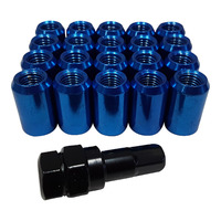 "20 x 1/2"" Blue Internal Hex Tuner Wheel Nut Ford Some Jeep Fitments + Key Included"